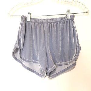 John Galt velour shorts blue